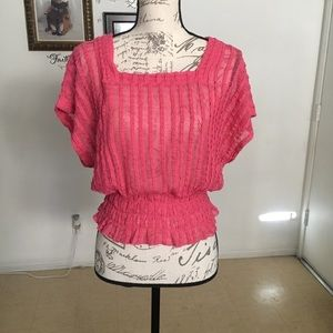 4/$20 Candie's Sheer Pink Top Size XS